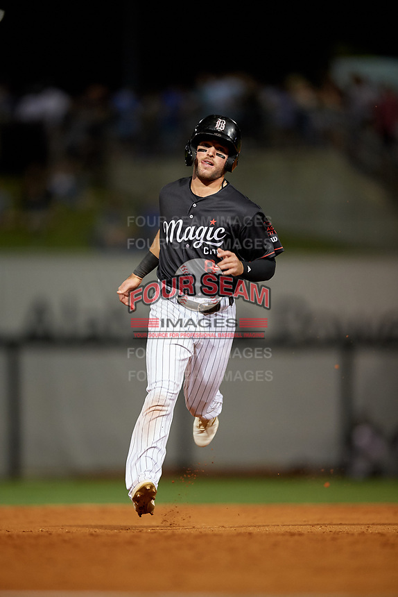 Birmingham Barons Luis Gonzalez (8) running the bases during a Southern League game against the Chattanooga Lookouts on May 2, 2019 at Regions Field in Birmingham, Alabama.  Birmingham defeated Chattanooga 4-2.  (Mike Janes/Four Seam Images)