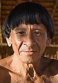 Xingu Indigenous Park, Mato Grosso State, Brazil. Aldeia Moygu (Ikpeng); village elder.