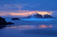 Sunset, clouds and mist, Bandon, Oregon