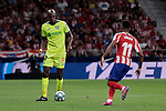 Atletico de Madrid's Thomas Lemar and Getafe CF's Allan-Romeo Nyom during La Liga match between Atletico de Madrid and Getafe CF at Wanda Metropolitano Stadium in Madrid, Spain. August 18, 2019. (ALTERPHOTOS/A. Perez Meca)