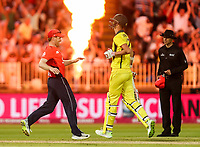 England's Eoin Morgan celebrates victory as Australia's Billy Stanlake falls for the final wicket of the Australian innings<br /> <br /> Photographer Andrew Kearns/CameraSport<br /> <br /> Only IT20 - Vitality IT20 Series - England v Australia - Wednesday 27th June 2018 - Edgbaston - Birmingham<br /> <br /> World Copyright &copy; 2018 CameraSport. All rights reserved. 43 Linden Ave. Countesthorpe. Leicester. England. LE8 5PG - Tel: +44 (0) 116 277 4147 - admin@camerasport.com - www.camerasport.com
