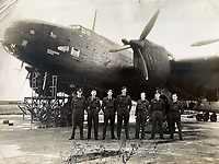 BNPS.co.uk (01202 558833)<br /> Pic:  DavidLay/BNPS<br /> <br /> Flight Sergeant Douglas Alexander with his crew mates in front of a Halifax heavy bomber with 23 raids marked on the fuselage.<br /> <br /> Bomber command heroes WW2 exploits discovered in a shoebox.<br /> <br /> The personal effects of a fearless 'Tail-end Charlie' have been discovered in a shoebox - and they include a charming set of photos of his wartime service.<br /> <br /> Flight Sergeant Douglas Alexander, of 460 Squadron, took part in nearly 40 bombing raids over Germany, including the famous assault on Hitler's mountain retreat, Berchtesgaden.<br /> <br /> As a tail gunner, he sat in a tiny glass turret at the rear of Lancaster and Halifax bombers - a terribly exposed position.<br /> <br /> The shoebox, containing his bravery medals, logbooks and photos, was bought into auctioneer David Lay Frics, of Penzance, Cornwall, by his daughter.<br /> <br /> Flt Sgt Alexander's medal group includes the prestigious Distinguished Flying Medal, awarded for 'exceptional valour, courage and devotion to duty', with his photos capturing the camarederie which existed in the RAF as the airmen risked their lives on every mission to defeat Adolf Hitler.