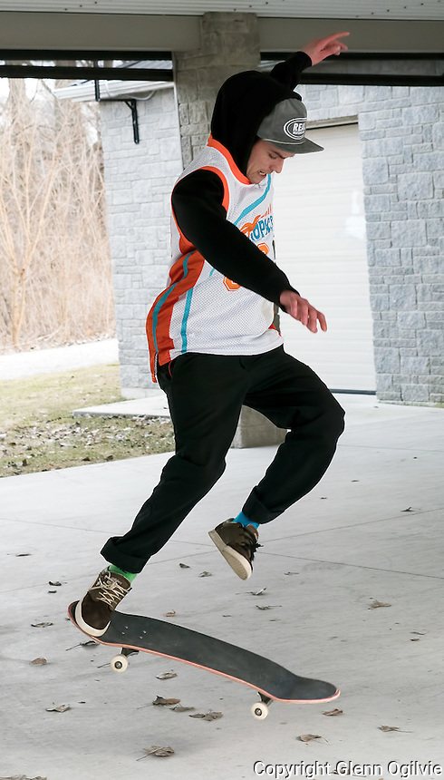 """Chris Lelievre can't resist his passion for skateboarding even when the weather is biting cold outdoors. """"It's what I've always done,"""" he said """" It's a passion, an outlet for life."""" Chris, an his buddy Logan Burdett, practiced flipping the board at the Seaway Kiwanis Pavillion at Canatara Park.  Lelilevre said they usually go out of town because there are better maintained skateboard parks in London and Zurich. He said he sometimes goes to the Norma Cox skateboard park, but it's not maintained with cracks in the surface swallows skateboard wheels."""