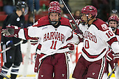 Kyle Criscuolo (Harvard - 11), Brayden Jaw (Harvard - 10) - The Harvard University Crimson defeated the visiting Bentley University Falcons 3-0 on Saturday, October 26, 2013, in Harvard's season opener at Bright-Landry Hockey Center in Cambridge, Massachusetts.