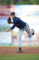 Danville Braves relief pitcher Alex Segal (27) in action against the Pulaski Yankees at Calfee Park on June 30, 2019 in Pulaski, Virginia. The Braves defeated the Yankees 8-5 in 10 innings. (Brian Westerholt/Four Seam Images)