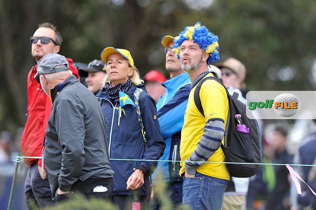 Swedish fans watching during the 3rd round of the World Cup of Golf, The Metropolitan Golf Club, The Metropolitan Golf Club, Victoria, Australia. 24/11/2018<br /> Picture: Golffile | Anthony Powter<br /> <br /> <br /> All photo usage must carry mandatory copyright credit (© Golffile | Anthony Powter)