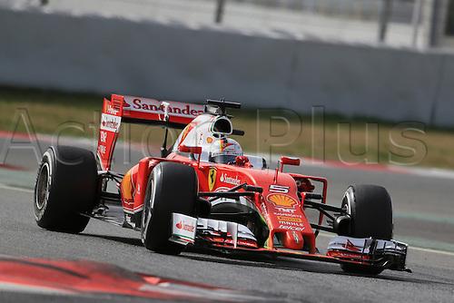 22.02.2016. Barcelona, Spain. Scuderia Ferrari SF16-H – Sebastian Vettel during the launch of the new cars for the upcoming Formula One season at the Circuit de Barcelona - Catalunya in Barcelona, Spain.