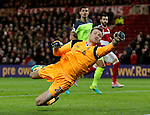Simon Mignolet of Liverpool makes a save during the English Premier League match at the Riverside Stadium, Middlesbrough. Picture date: December 14th, 2016. Pic Simon Bellis/Sportimage