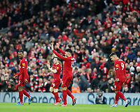 1st February 2020; Anfield, Liverpool, Merseyside, England; English Premier League Football, Liverpool versus Southampton; Alex Oxlade-Chamberlain of Liverpool celebrates after scoring the opening goal after 47 minutes