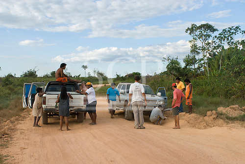 Pará State, Brazil. Stranded on the road; help finally arrived to repair the 4wd's steering.