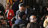 Reverend Jesse Jackson greats guest during the unveiling of a statue of Rosa Parks in Statuary Hall of the the United States Capitol February 27, 2013 in Washington, DC. .Credit: Olivier Douliery / Pool via CNP