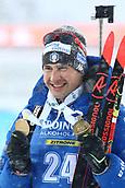 17th March 2019, Ostersund, Sweden; IBU World Championships Biathlon, day 9, mass start men; Dominik Windisch (ITA) celebrates