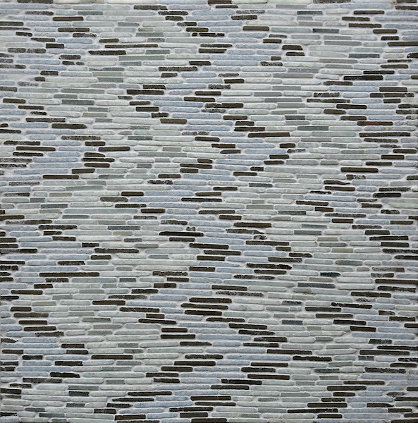 Adona, a hand cut stone mosaic, shown in tumbled Ming Green, Kay's Green, Montevideo, and Celeste.