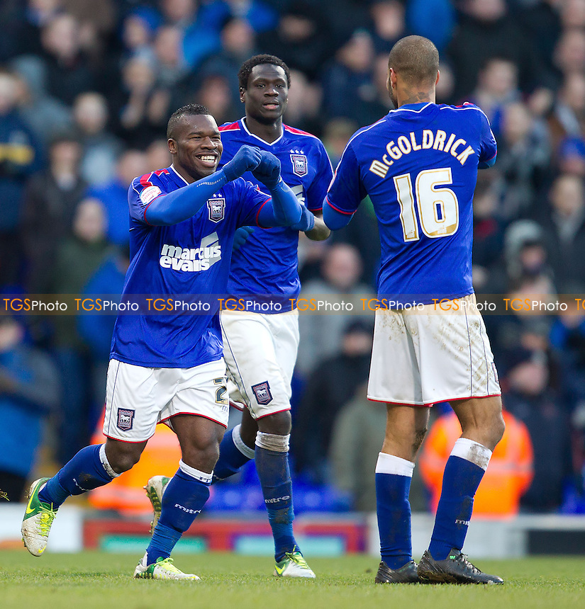 Aaron Mclean, Ipswich Town FC celebrates scoring the third goal for the hosts - Ipswich Town vs Middlesbrough - NPower Championship Football at Portman Road, Ipswich, Suffolk - 02/02/13 - MANDATORY CREDIT: Ray Lawrence/TGSPHOTO - Self billing applies where appropriate - 0845 094 6026 - contact@tgsphoto.co.uk - NO UNPAID USE.