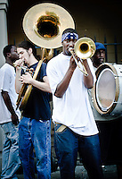 Brass bands playing at Jackson Square during FQ Festival 2011.
