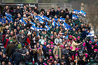 Bath Rugby fans in the crowd wave flags in support. Gallagher Premiership match, between Bath Rugby and Harlequins on March 2, 2019 at the Recreation Ground in Bath, England. Photo by: Patrick Khachfe / Onside Images