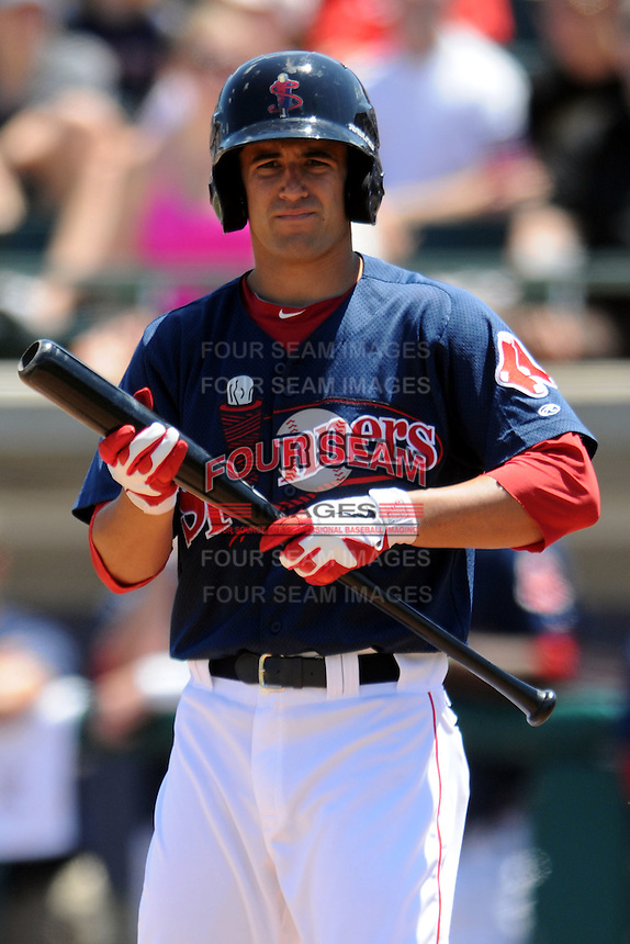 Lowell Spinners shortstop Deven Marrero #6 heads to the plate for his first professional at bat during a game versus the Vermont Lake Monsters at LeLacheur Park in Lowell, Massachusetts on June 24, 2012.  (Ken Babbitt/Four Seam Images)