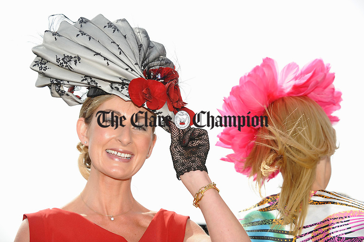 Barefield's Sinead Purcell, who won the prize for the best hat  during Ladies Day at the Galway Races  Ladies Day. Photograph  by John Kelly.