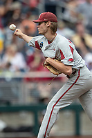 Arkansas Razorbacks pitcher Jacob Kostyshock (35) delivers a pitch to the plate during Game 5 of the NCAA College World Series against the Texas Tech Red Raiders on June 17, 2019 at TD Ameritrade Park in Omaha, Nebraska. Texas Tech defeated Arkansas 5-4. (Andrew Woolley/Four Seam Images)