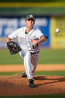 Relief pitcher Sam Robinson #13 of the Miami Hurricanes in action versus the Florida State Seminoles at Durham Bulls Athletic Park May 21, 2009 in Durham, North Carolina.  (Photo by Brian Westerholt / Four Seam Images)