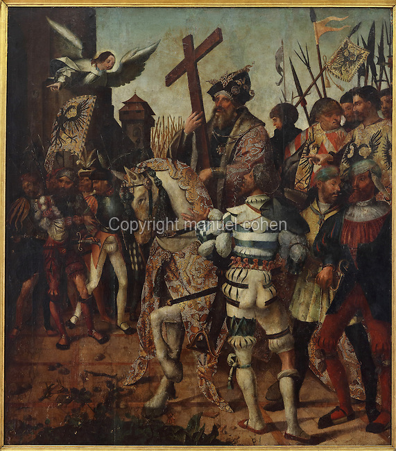 Emperor Heraclius bearing the Holy Cross, painting, 1522-1530, by Cristovao de Figueiredo, originally painted for the altarpiece of the Santa Cruz Monastery, in the Museu Nacional de Machado de Castro, Coimbra, Portugal. The museum was opened in 1913 and renovated 2004-2012. The city of Coimbra dates back to Roman times and was the capital of Portugal from 1131 to 1255. Its historic buildings are listed as a UNESCO World Heritage Site. Picture by Manuel Cohen