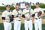 (L-R) Wake Forest Demon Deacons seniors Chris Shafer (25), Bruce Steel (17), Keegan Maronpot (13), and Chris Farish (32) pose for a photo prior to the game against the Liberty Flames at David F. Couch Ballpark on April 25, 2018 in  Winston-Salem, North Carolina.  The Demon Deacons defeated the Flames 8-7.  (Brian Westerholt/Sports On Film)