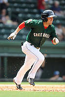 Center fielder Cole Sturgeon (35) of the Greenville Drive in a game against the Asheville Tourists on Sunday, July 20, 2014, at Fluor Field at the West End in Greenville, South Carolina. Sturgeon is a 2014 draft pick of the Boston Red Sox out of the University of Louisville. Asheville won game one of a doubleheader, 3-1. (Tom Priddy/Four Seam Images)