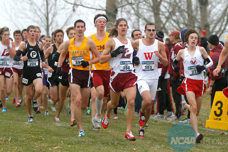 19 NOV 2011:  Josh Kaul of the University of Wisconsin La Crosse leads a pack of runners during the Division III Men's Cross Country Championship held at the Lake Breeze Golf Club in Winneconne, WI.  Kaul placed 91st with a 25:12.72 time.  Al Fredrickson/NCAA Photos