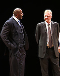 "Earvin 'Magic' Johnson & Larry Bird.during the Broadway Opening Night Performance Curtain Call for ""Magic / Bird"" at the Longacre Theatre in New York City on April 11, 2012"