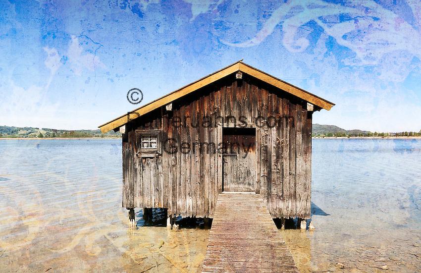 Germany, Bavaria, Upper Bavaria, Toelzer Land, Kochel at Lake Kochel: boat house at lake Kochel | Deutschland, Bayern, Oberbayern, Toelzer Land, Kochel am See: Bootshaus am Kochelsee