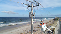 2017 FPL line specialist restoring power on the beach shore during Hurricane Irma restoration in Ponte Vedra, Fla. on September 15, 2017.
