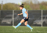 Piscataway, NJ, April 24, 2016.  Sky Blue defender Erica Skroski (8) heads the ball. The Washington Spirit defeated Sky Blue FC 2-1 during a National Women's Soccer League (NWSL) match at Yurcak Field.