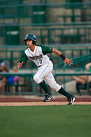 Fort Wayne TinCaps Ethan Skender (3) running the bases during a Midwest League game against the Peoria Chiefs on July 17, 2019 at Parkview Field in Fort Wayne, Indiana.  Fort Wayne defeated Peoria 6-2.  (Mike Janes/Four Seam Images)