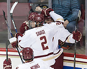 Julius Mattila (BC - 26), Graham McPhee (BC - 27), Scott Savage (BC - 2) - The visiting University of Vermont Catamounts tied the Boston College Eagles 2-2 on Saturday, February 18, 2017, Boston College's senior night at Kelley Rink in Conte Forum in Chestnut Hill, Massachusetts.Vermont and BC tied 2-2 on Saturday, February 18, 2017, Boston College's senior night at Kelley Rink in Conte Forum in Chestnut Hill, Massachusetts.
