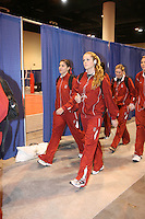 16 December 2006: Stanford Cardinal Heather Hernandez and Jessica Fishburn during Stanford's 30-27, 26-30, 28-30, 27-30 loss against the Nebraska Huskers in the 2006 NCAA Division I Women's Volleyball Final Four Championship match at the Qwest Center in Omaha, NE.