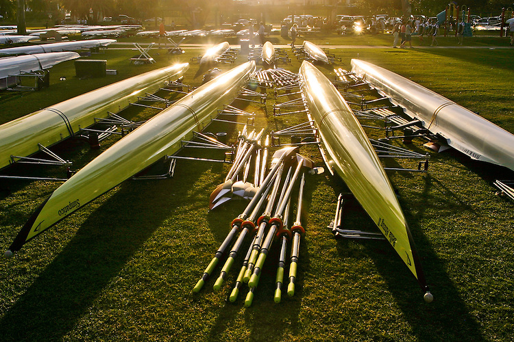Rowing, Empacher Rowing Shells, eight oared racing shells, on slings, oars, and equipment, San Diego Crew Classic, rowing regatta in Mission Bay, San Diego, California,.
