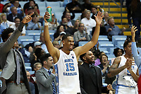 CHAPEL HILL, NC - NOVEMBER 01: Garrison Brooks #15 of the University of North Carolina reacts on the bench during a game between Winston-Salem State University and University of North Carolina at Dean E. Smith Center on November 01, 2019 in Chapel Hill, North Carolina.