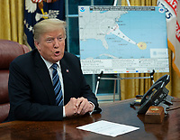 United States President Donald J. Trump speaks during a  a briefing on Hurricane Florence at The White House in Washington, DC,  September 11, 2018. <br /> CAP/MPI/RS<br /> &copy;RS/MPI/Capital Pictures