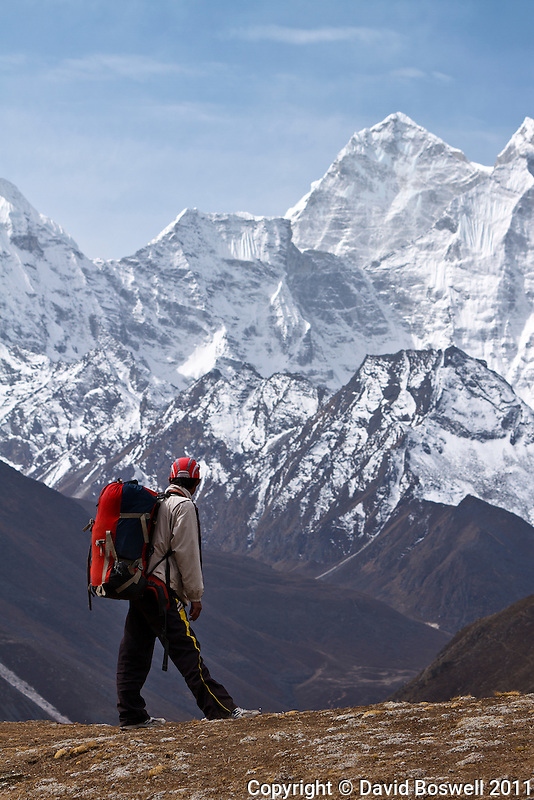 Our guide on the trail to Lobuche in the Khumbu Valley, Nepal.