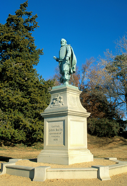 Statue of Captain John Smith governor of Virginia in 1608 looks over the James River from the site of the old Jamestown Settlement, Virginia