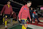 MADRID, Spain (14/02/10).-Liga BBVA de futbol. Partido Atletico de Madrid-FC Barcelona..Xavi Hernandez y Sergio Busquets.©Raul Perez ..