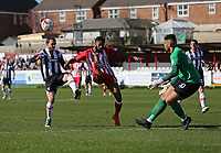 Jamey Osborne of Grimsby Town attacks but Janoi Donacien of Accrington Stanley  gets the ball away<br /> during the Sky Bet League 2 match between Accrington Stanley and Grimsby Town at the Fraser Eagle Stadium, Accrington, England on 25 March 2017. Photo by Tony  KIPAX / PRiME Media Images.