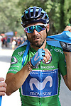 Alejandro Valverde (ESP) Movistar Team after crossing the finish line at the end of Stage 4 of the La Vuelta 2018, running 162km from Velez-Malaga to Alfacar, Sierra de la Alfaguara, Andalucia, Spain. 28th August 2018.<br /> Picture: Colin Flockton | Cyclefile<br /> <br /> <br /> All photos usage must carry mandatory copyright credit (&copy; Cyclefile | Colin Flockton)