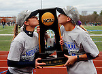 EASTON, MA - NOVEMBER 20:  Cassie Rawa (7) of Shippensburg University, left, and Morgan Gantz (9) of  Shippensburg University kiss the trophy after the NCAA Division II Field Hockey Championship at WB Mason Stadium on November 20, 2016 in Easton, Massachusetts.  Shippensburg University defeated LIU Post 2-1 for the national title. (Photo by Winslow Townson/NCAA Photos via Getty Images)