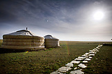 MONGOLIA, Ger camp in Gurvansaikhan National Park, Three Camel Lodge, the Gobi Desert