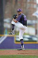 High Point Panthers starting pitcher Muhammed Eid (23) in action against the North Carolina Central Eagles at Williard Stadium on February 28, 2017 in High Point, North Carolina. The Eagles defeated the Panthers 11-5. (Brian Westerholt/Four Seam Images)