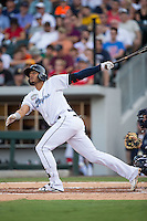 Erik Gonzalez (11) of the Columbus Clippers connects for a solo home run in the bottom of the second inning at the 29th Annual Triple-A All-Star Game at BB&T BallPark on July 13, 2016 in Charlotte, North Carolina.  The International League defeated the Pacific Coast League 4-2.   (Brian Westerholt/Four Seam Images)