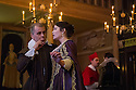 London, UK. 14.01.2014. The new Sam Wanamaker Playhouse, at Shakespeare's Globe, opens with The Duchess of Malfi, by John Webster, directed by Dominic Dromgoole. Picture shows: Brendan O'Hea (Pescara), Gemma Arterton (The Duchess), James Garnon (Cardinal) and David Dawson (Ferdinand). Photograph © Jane Hobson.