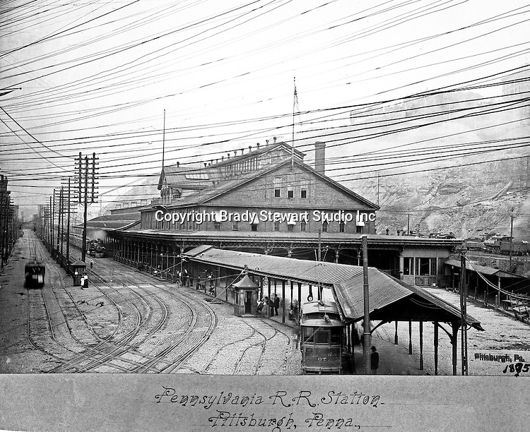 Pittsburgh PA:  The Pennsylvania Railroad Union Station was constructed in 1879 and burned down in 1896.  This photograph was taken in 1895.