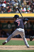 OAKLAND, CA - JUNE 30:  Yan Gomes #7 of the Cleveland Indians bats against the Oakland Athletics during the game at the Oakland Coliseum on Saturday, June 30, 2018 in Oakland, California. (Photo by Brad Mangin)